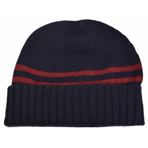 Gucci Men's 294731 Blue 100% Wool Red Stripe Beanie Ski Hat S