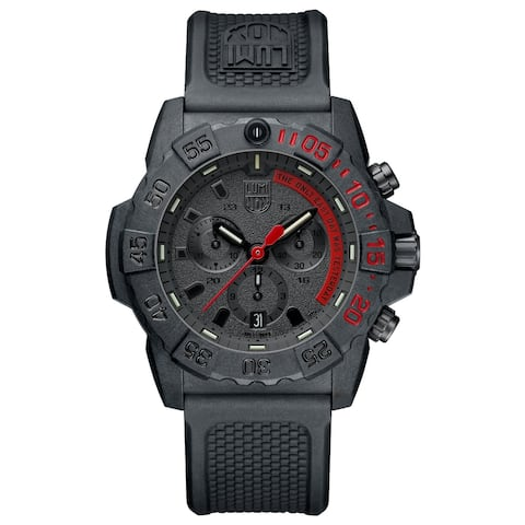 Luminox Men's XS.3581.EY Navy Seal Chrono Black/ Red Accents Black Rubber Strap Watch