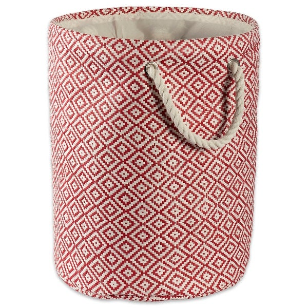 """14"""" Rust Red and Ivory Geo Diamond Patterned Small Round Bin with Rope Handles - N/A"""