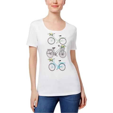 Karen Scott Womens Embellished Bike Graphic T-Shirt