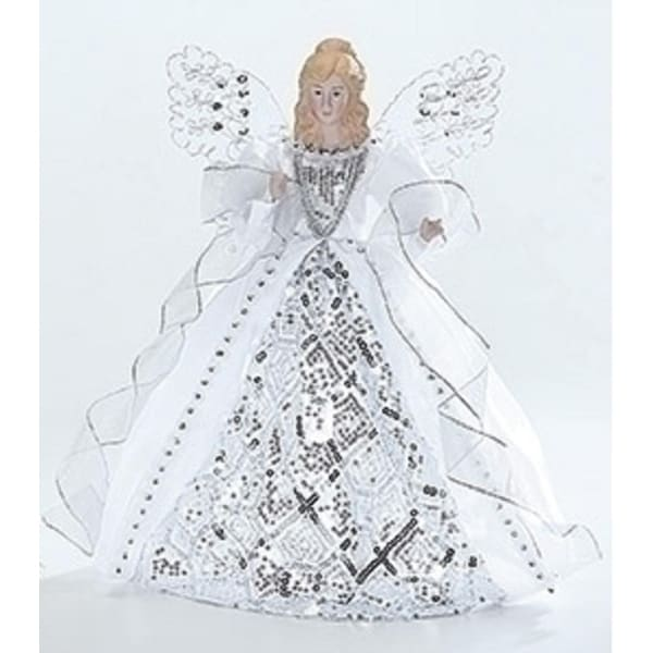 Porcelain Angel with White and Silver Gown Christmas Tree Topper 14""