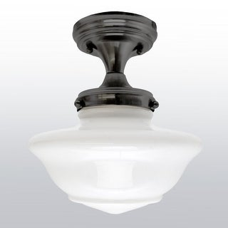 Design House 577502 Schoolhouse Single Light Ceiling Fixture with Opal Glass Shade