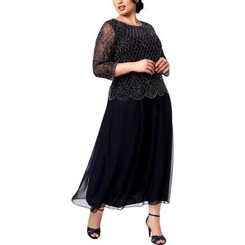 Xscape Womens Plus Evening Dress Formal Embellished