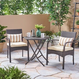 Link to Hayden Outdoor 3 Piece Wicker Foldable Bistro Set by Christopher Knight Home Similar Items in Patio Furniture