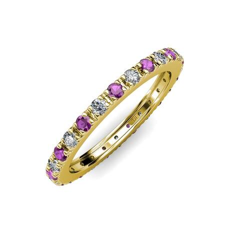 TriJewels Amethyst Lab Grown Diamond 3/4 ctw Eternity Ring 14K Gold
