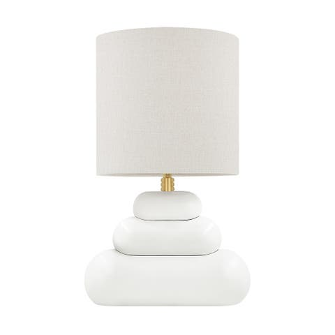 Husdon Valley Palisade 1-Light Aged Brass Table Lamp with Gray Linen Shade
