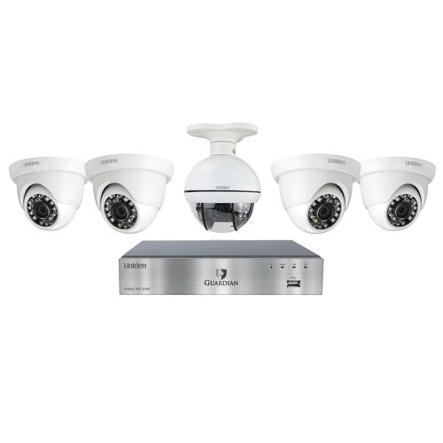 """""""UNIDEN G7805D2 Wired DVR Security Camera System w/ 4 1080P Dome Cameras, 1 PTZ Camera and 2 TB HDD"""""""