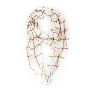 """Super Soft Luxurious Classic Cashmere Feel Winter Scarf - White - 72""""x12"""" with 7"""" fringes"""