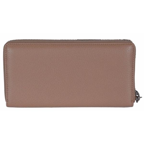 b77988efc Gucci Women's 307984 Beige Leather Trademark Logo Zip Around Wallet - 7.75