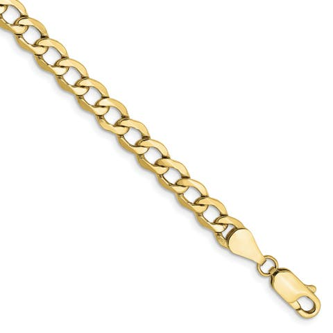 10K Yellow Gold 5.25mm Semi-solid Curb Link Chain by Versil