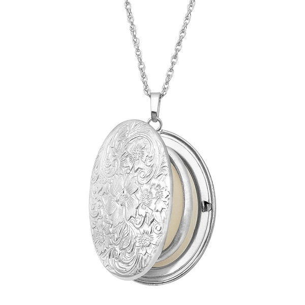 Floral Locket Pendant with Diamond in Sterling Silver