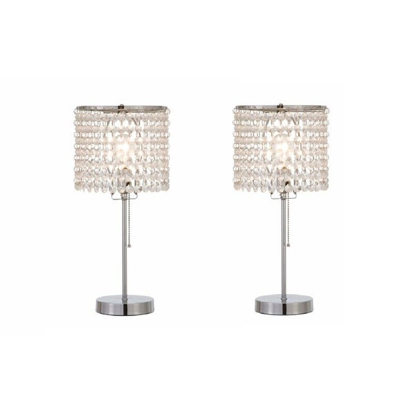 "Q-Max 19""H Crystal Inspired Table Lamp (Set of 2). Opens flyout."