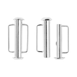 Slide Tube Clasps, with Bar Loops 21.5x10.5mm, 2 Pieces, Silver Plated