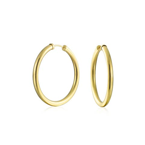 Round Endless Continuous Tube 10K Yellow Gold Filled Hoop Earrings