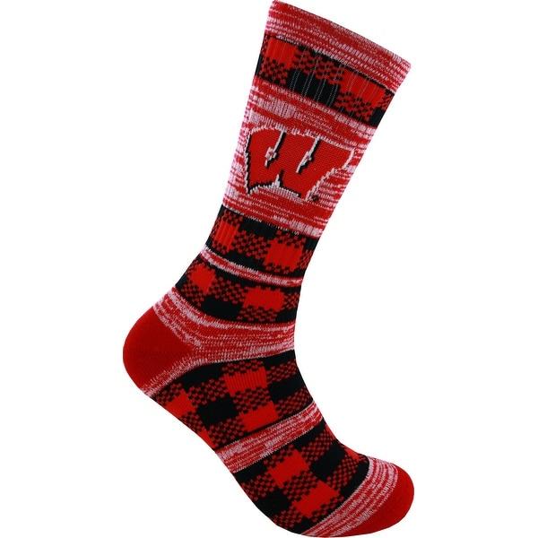 Wisconsin Badgers Double Plaid Socks