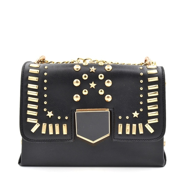 717fc28787b4 Shop BY1723 Designer Inspired Studded Cross Body Bag-Black - Free Shipping  On Orders Over  45 - Overstock.com - 22796591