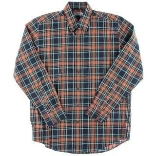 Alex Cannon Mens Twill Plaid Button-Down Shirt - M
