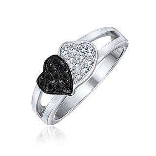 Link to Black And White Two Tone CZ 2 Double Heart Ring 925 Sterling Silver Similar Items in Rings
