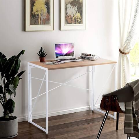 NOVA FURNITURE Home Office Computer Desk, Folding Writing Desk with Natural Desktop