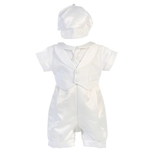 Baby Boys Pique Vest Satin Romper Baptism Christening Set 0-18M