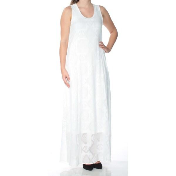 a22596734e3dd CALVIN KLEIN Womens White Sleeveless Scoop Neck Maxi Fit + Flare Dress  Size: 4