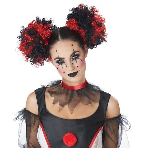 Womens Clown Puffs Black & Red Wig - Standard - One Size
