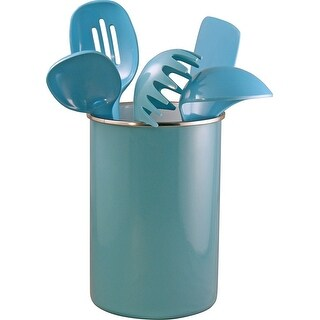 Calypso Basics by Reston Lloyd Enamel on Steel Utensil Holder and 5 Piece Utensil Set, Turquoise