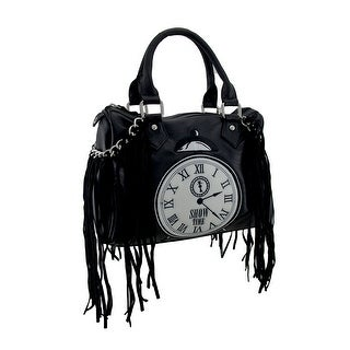 Black Show Time Clock and Fringe Accent Satchel