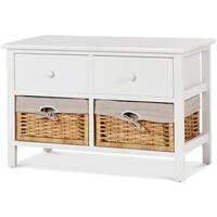Costway Storage Unit 2 Drawer 2 Baskets Storage Bench Organizer Shelf Wood Frame - White