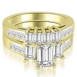2.50 cttw. 14K Yellow Gold Channel Princess and Emerald Cut Diamond Bridal Set