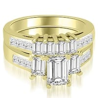 2.50 cttw. 14K Yellow Gold Channel Princess and Emerald Cut Diamond Bridal Set