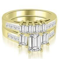 3.00 cttw. 14K Yellow Gold Channel Princess and Emerald Cut Diamond Bridal Set