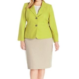 Le Suit NEW Green Honey Dew Women's Size 18W Plus Skirt Suit Set