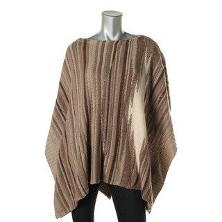 Lauren Ralph Lauren Womens Pattern Wool Poncho Sweater