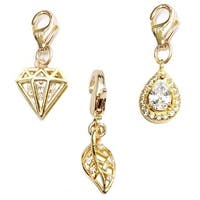 Julieta Jewelry Leaf, Diamond, Teardrop 14k Gold Over Sterling Silver Clip-On Charm Set