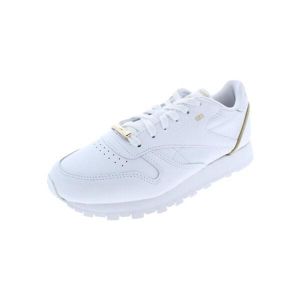 b0483d6b6e9c3 Shop Reebok Womens Classic Leather HW Sneakers Gold Trim - Free ...