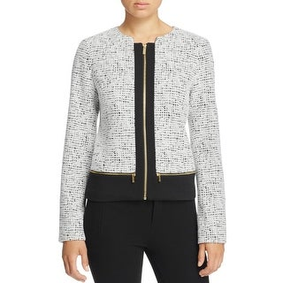 Calvin Klein Womens Blazer Textured Contrast Trim