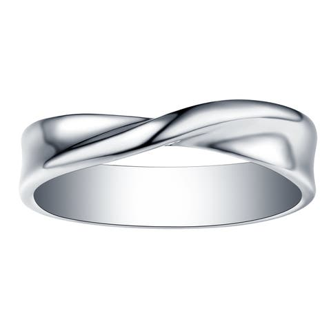 Vedantti 18k Gold Stackable Mobius Slim Wedding Band, 4.50mm Wide