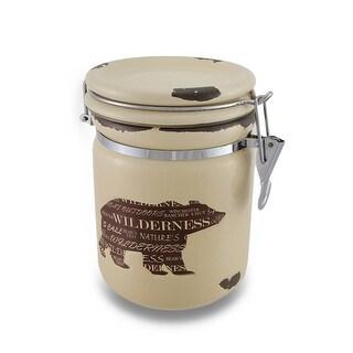 Wild Bear Silhouette Distressed Finish Airtight Ceramic Storage Jar