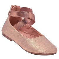 Anne Marie Girls Champagne Criss-Cross Strap Ballerina Flats