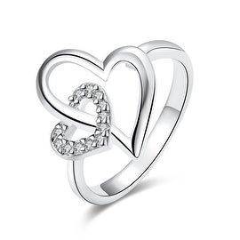 White Gold Hollow Double Hearts Ring