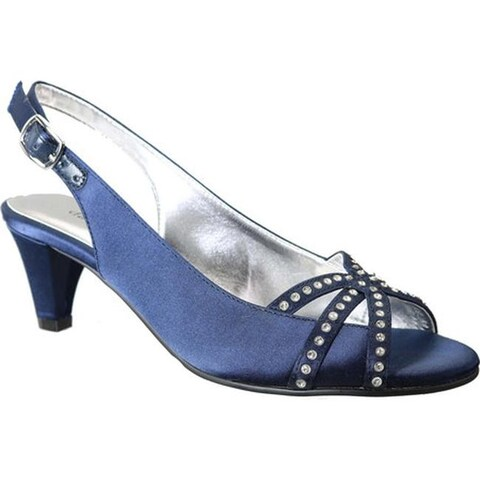 David Tate Women's Regal Rhinestone Slingback Navy Satin