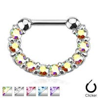 Single Line Paved Gem 316L Surgical Steel Septum Clicker (Sold Ind.)