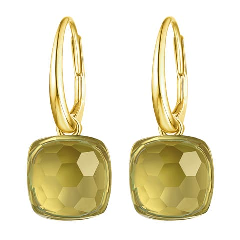 Vedantti Magic Honeycomb Cut Green Amethyst Gemstone Accomplisher Leverback Earring