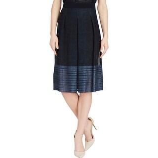 Elie Tahari Womens Mirella A-Line Skirt Linen Blend Contrast Trim - 4