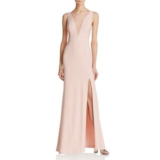 Adrianna Papell Lace-Inset Gown 100% Exclusive Icy Pink