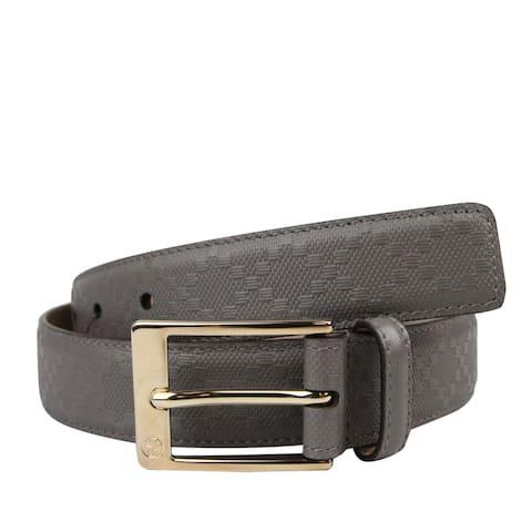 Gucci Men's Leather Diamante Square Buckle Belt 345658
