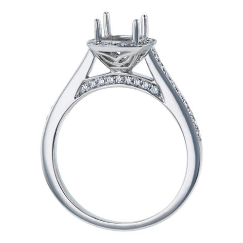 14K White Gold 1/3 ct. Diamonds Halo Semi Mount Engagement Ring by Beverly Hills Charm