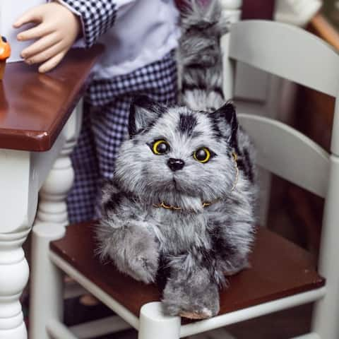 18 Inch Doll Pet Accessory Compatible for use with American Girl Dolls, Truly Adorable Realistic Grey Striped Kitty Cat