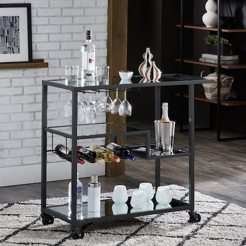 Metropolitan Mirrored Glass Top Metal Bar Cart by iNSPIRE Q Bold